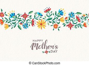 flor, mães, primavera, padrão experiência, dia, feliz