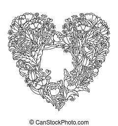 flor, mão, mandala., pretas, white., zentangle, desenho, element.