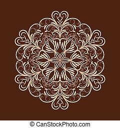flor, mandala, encima, oscuridad, marrón