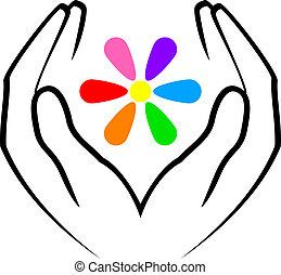 flor, manos