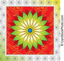 flor, marco, diseño