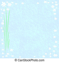 flor, marco, en, azul