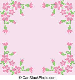 flor, marco, en, fondo rosa