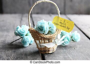 flor, marzo, card., womans, saludo, rosas, día, internacional, 8, tarjeta