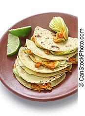 flor, mexicano, calabaza,  Quesadillas