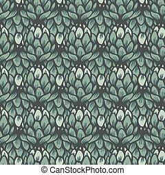 flor, monotone, seamless, vetorial, verde, alcachofra, padrão experiência
