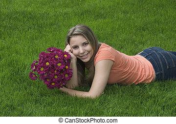 flor, mujer