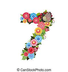 flor, número, con, aves, en, khokhloma, estilo