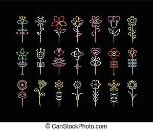 flor, neón, iconos