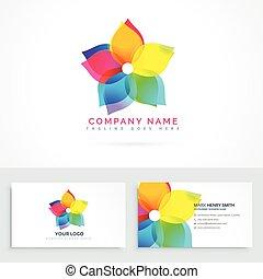 flor, negócio, abstratos, limpo, logotipo, cartão