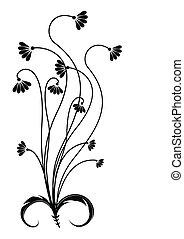 flor, negro, silueta, en, white.