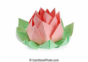 flor, origami, loto