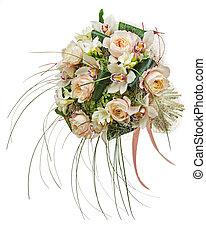 flor, orquídeas, aislado, arreglo, fondo., peón, flores, blanco, closeup.