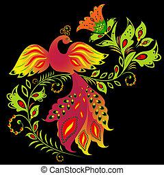 flor, pájaro, colorido