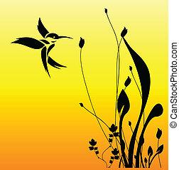 flor, pájaro