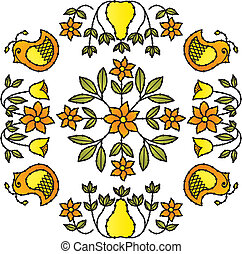 flor, pássaro, ornamentos
