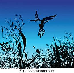 flor, pássaro