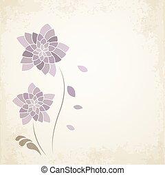 flor púrpura, en, viejo, papel, plano de fondo