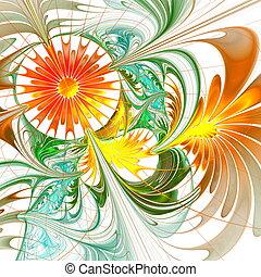 flor, palette., fractal, fondo., verde, naranja, com,...