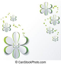 flor, papel, desenho, fundo, verde branco, cartão