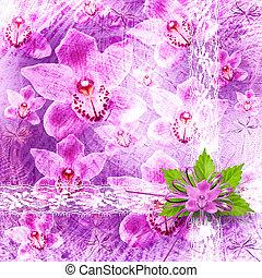 flor, parabéns, convite, ou, cartão, grupo