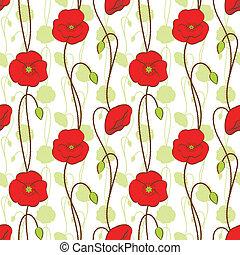flor, patrón,  seamless, primavera, amapola, rojo
