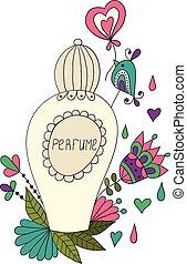 flor, Patrones, botella,  perfume