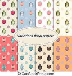 flor, patrones, conjunto