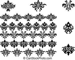 flor, patrones, y, fronteras