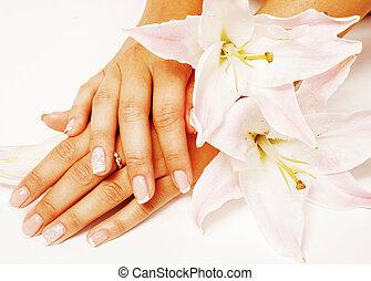 flor, pedicure, isolado, cima, manicure, pe, fim, lírio...