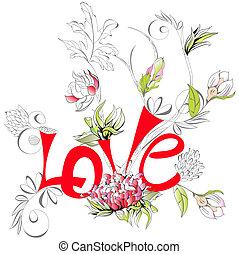 flor, peonía, amor, inscripción