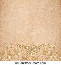 flor, pergaminho, fundo