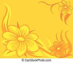 flor, plano de fondo, amarillo, naranja, -, vector, ilustración