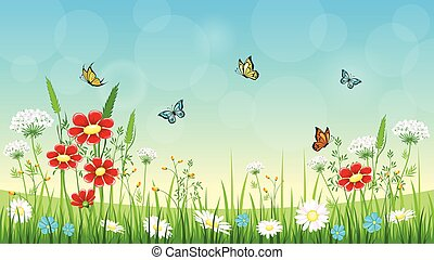 flor, plano de fondo, con, mariposas
