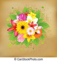 flor, plano de fondo, en, vendimia, papel