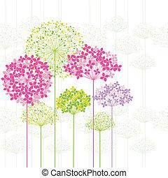 flor, plano de fondo, primavera, colorido, diente de león