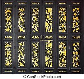 flor, porta, pintura ouro, madeira, esculpido