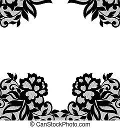 flor, pretas, renda, ornament.