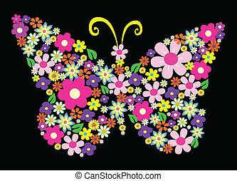 flor, primavera, borboleta