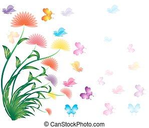 flor, primavera, fundo