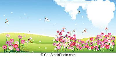 flor, primavera, paisagem