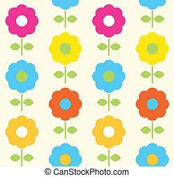 flor, primavera, seamless, vetorial, desenho, padrão