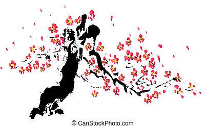 flor, quadro, chinês