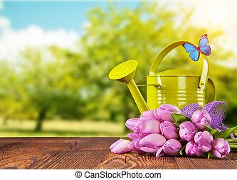 flor, ramo, primavera, tulipán, de madera, tablones