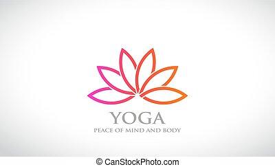 flor, relaxe, loto, abstratos, vetorial, logotipo, spa, design.
