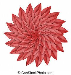 flor, render, experiência., papel, branco vermelho, 3d