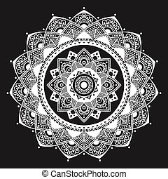 flor, resumen, alheña, símbolo., islámico, mandala., indio, ...
