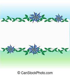 flor, resumen, plano de fondo, con, hojas verdes