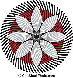 flor, retro, elemento
