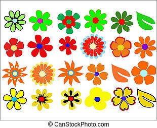 flor, retro-styled, fundo
